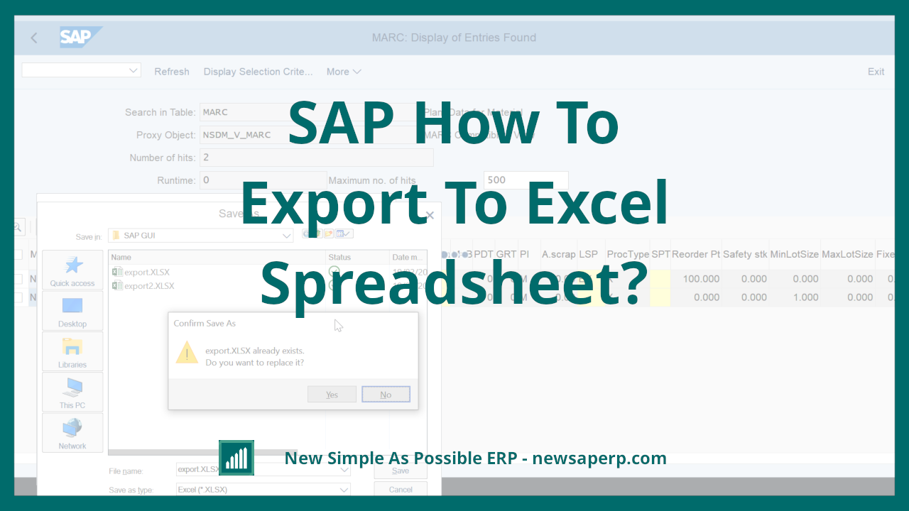 SAP how to export to Excel spreadsheet? - [New Simple As